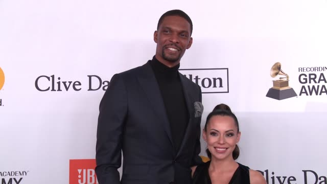 Chris Bosh and Adrienne Williams Bosh at Clive Davis PreGRAMMY Gala at Sheraton Times Square on January 27 2018 in New York City
