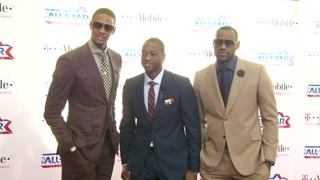Chris Bosh Dwyane Wade and LeBron James at the TMobile Magenta Carpet At The 2011 NBA AllStar Game at Los Angeles CA