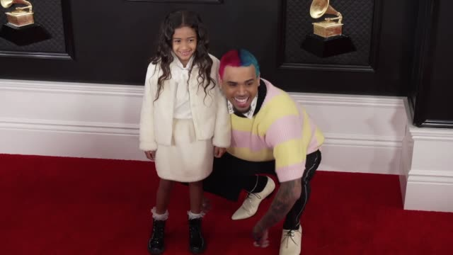 chris brown and royalty brown at the 62nd annual grammy awards at staples center on january 26 2020 in los angeles california - grammy awards stock-videos und b-roll-filmmaterial