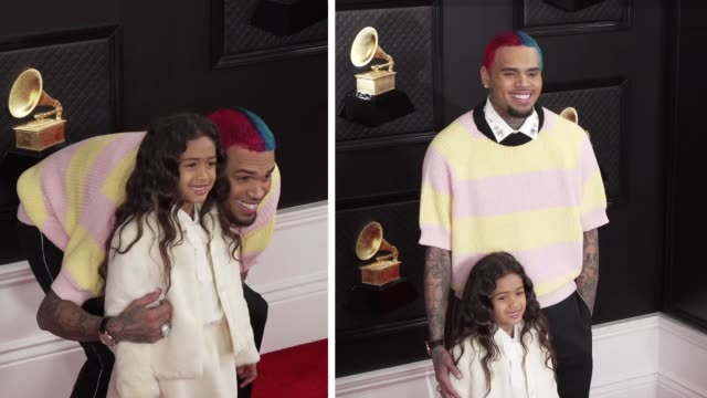 chris brown and royalty brown at the 62nd annual grammy awards at staples center on january 26, 2020 in los angeles, california. - grammy awards stock-videos und b-roll-filmmaterial