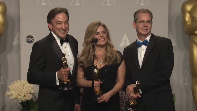 SPEECH Chris Buck Jennifer Lee and Peter del Vecho 86th Annual Academy Awards Press Room at Hollywood Highland Center on March 02 2014 in Hollywood...