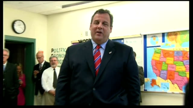 chris christie re-elected governor of new jersey; usa: new jersey: int newly re-elected governor of new jersey chris christie answering question on... - imagination stock videos & royalty-free footage