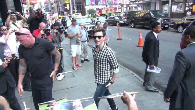 chris colfer arrives at the 'good morning america' studio in new york ny on 07/17/12 - chris colfer stock videos and b-roll footage