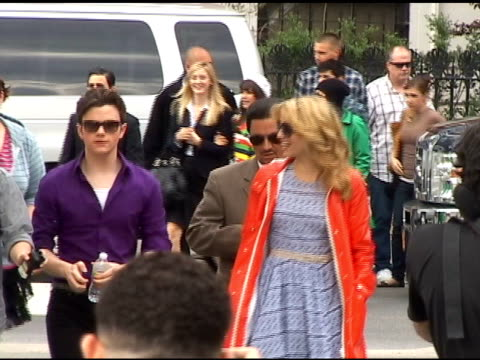 Chris Colfer Ashley Fink and Dianna Agron make their way to the set in Washington Square Park in Greenwich Village in New York 04/29/11