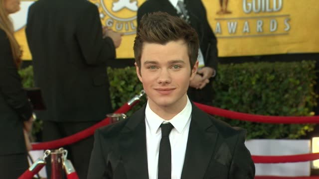 chris colfer at 18th annual screen actors guild awards arrivals on 1/29/12 in los angeles ca - chris colfer stock videos and b-roll footage