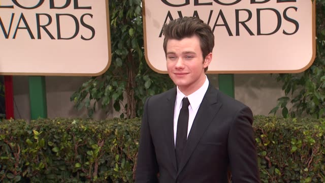 chris colfer at 69th annual golden globe awards arrivals on january 15 2012 in beverly hills california - chris colfer stock videos and b-roll footage