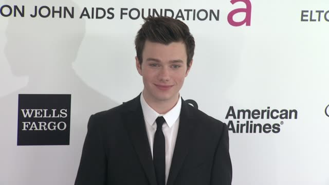 chris colfer at elton john aids foundation celebrates 20th annual academy awards viewing party on 2/26/12 in hollywood ca - chris colfer stock videos and b-roll footage