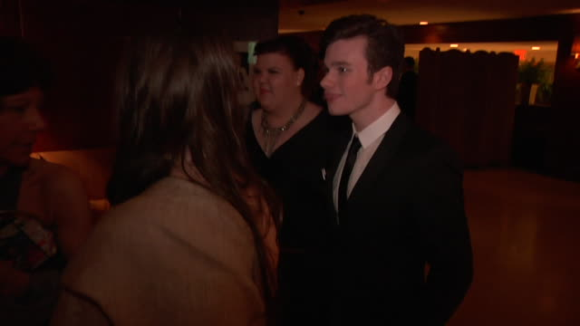 chris colfer at the 2011 vanity fair oscar party inside at hollywood ca - chris colfer stock videos and b-roll footage