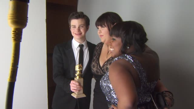 chris colfer at the 68th annual golden globe awards backstage photo booth at beverly hills ca - chris colfer stock videos and b-roll footage