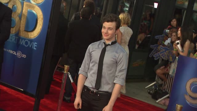 chris colfer at the 'glee the 3d concert movie' los angeles premiere at westwood ca - chris colfer stock videos and b-roll footage
