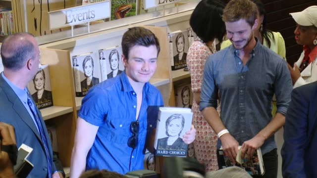 chris colfer at the hillary rodham clinton book signing at barnes noble bookstore at the grove on june 19 2014 in los angeles california - chris colfer stock videos and b-roll footage