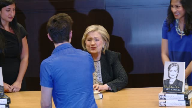 chris colfer hillary rodham clinton at the hillary rodham clinton book signing at barnes noble bookstore at the grove on june 19 2014 in los angeles... - chris colfer stock videos and b-roll footage