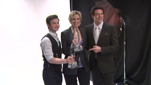 chris colfer jane lynch and cory monteith at the people's choice awards photo booth at los angeles ca - cory monteith stock videos and b-roll footage