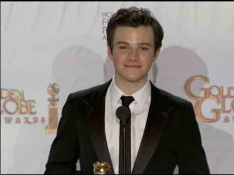 chris colfer on his high school mentor at the 68th annual golden globe awards press room at beverly hills ca - chris colfer stock videos and b-roll footage