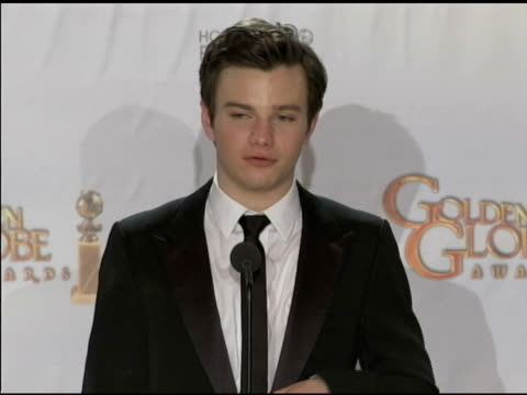 Chris Colfer on the Golden Globes at the 68th Annual Golden Globe Awards Press Room at Beverly Hills CA