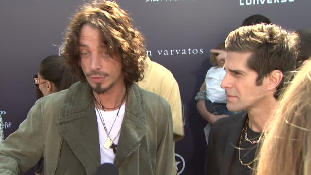 chris cornell & perry farrell on being part of the afternoon, why it's important to shed light on sexual abuse, when they became fans of john... - perry farrell stock videos & royalty-free footage