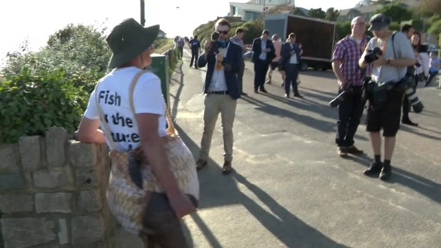 mep chris davies dressed as fish at the liberal democrat party conference in bournemouth - british liberal democratic party stock videos & royalty-free footage