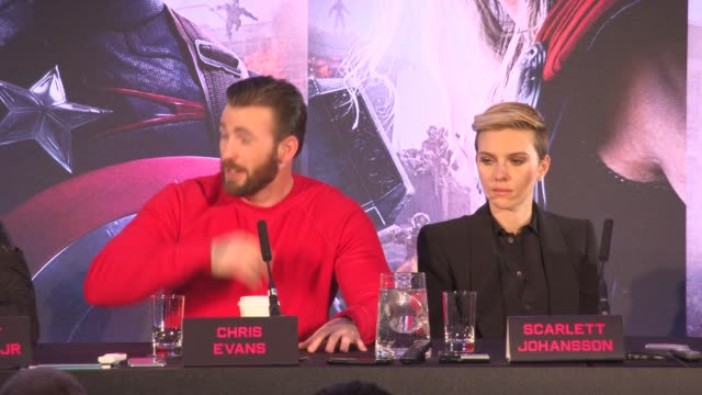 INTERVIEW Chris Evans on playing a superhero in a film at 'Avengers The Age of Ultron' Press Conference at Corinthia Hotel London on April 21 2015 in...