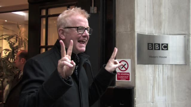 chris evans outside bbc broadcasting house london, after completing his first radio breakfast show on bbc radio 2. the show had been presented by... - bbc radio stock videos & royalty-free footage