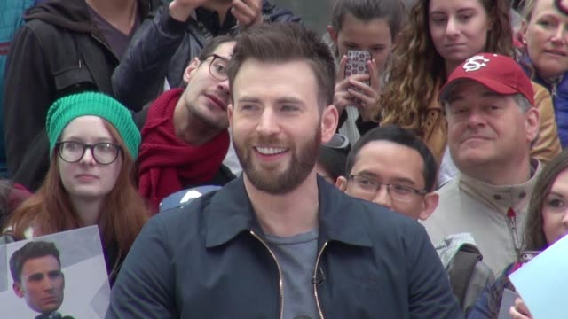 Chris Evans promoting 'Captain America Civil War' on the set of the 'Good Morning America' show in Times Square then signs for fans in Celebrity...