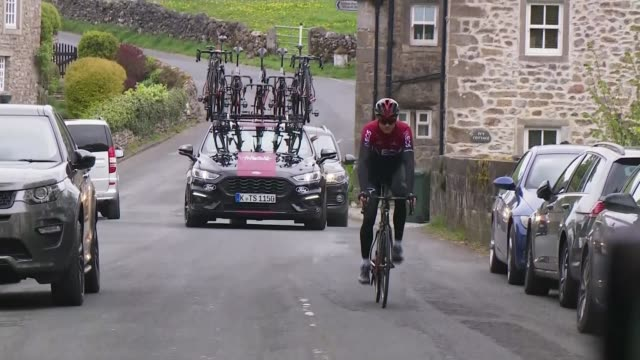 chris froome recovers after surgery following bicycle crash england yorkshire ext chris froome wearing team ineos colours riding bicycle along road - crash stock videos & royalty-free footage