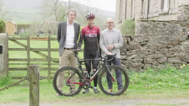 chris froome sir jim ratcliffe and sir dave brailsford hold photocall in linton yorkshire to launch team ineos - bicycle stock videos & royalty-free footage