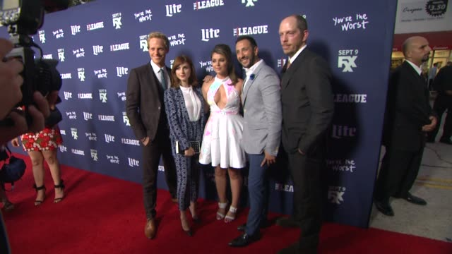 Chris Geere Aya Cash Kether Donohue Desmin Borges and Stephen Falk at the Premiere of FXX's The League Final Season and You're The Worst 2nd Season...