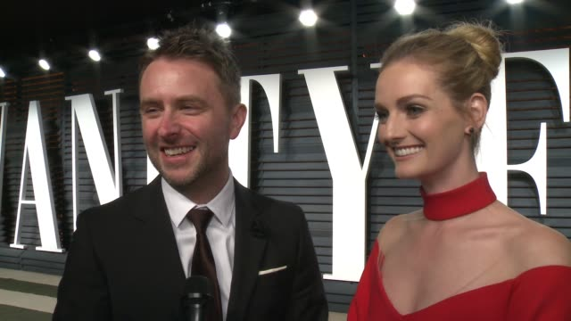 interview chris hardwick and lydia hearst at 2017 vanity fair oscar party hosted by graydon carter on february 26 2017 in beverly hills california - oscar party stock-videos und b-roll-filmmaterial