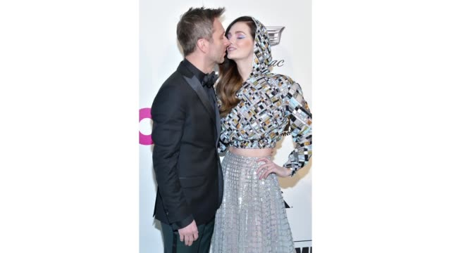chris hardwick and lydia hearst attend the 27th annual elton john aids foundation academy awards viewing party celebrating ejaf and the 91st academy... - academy awards stock videos & royalty-free footage