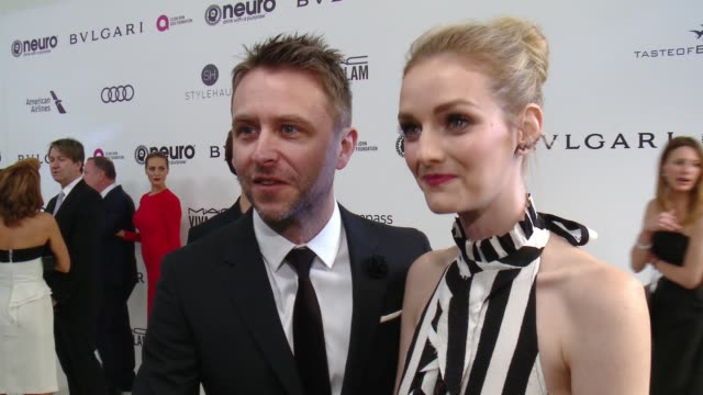 INTERVIEW Chris Hardwick Lydia Hearst on the event at 25th Annual Elton John AIDS Foundation's Academy Awards Viewing Party in Los Angeles CA