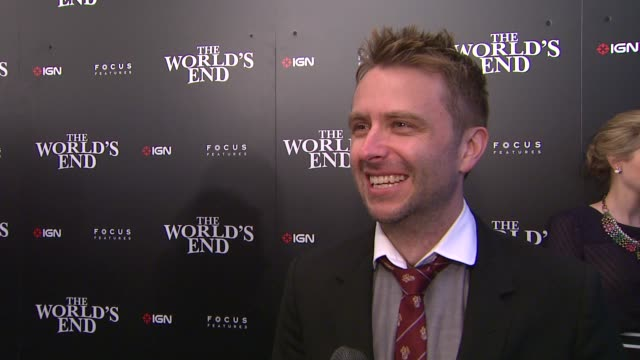 interview chris hardwick on attending comiccon on the fans who dress up and on being a fan of simon pegg's at ign focus features celebrate the... - 2013 stock-videos und b-roll-filmmaterial