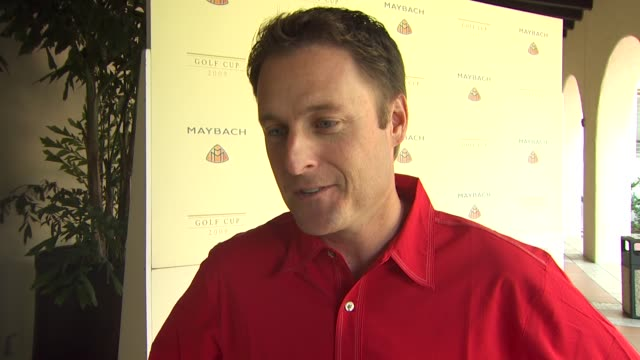 Chris Harrison on being a part of the afternoon what he's hoping to learn from the pros today the upcoming season of The Bachelor at the Maybach Golf...