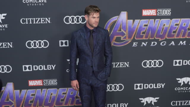 "vídeos de stock, filmes e b-roll de chris hemsworth at the world premiere of marvel studios' ""avengers: endgame"" at los angeles convention center on april 22, 2019 in los angeles,... - estreia"