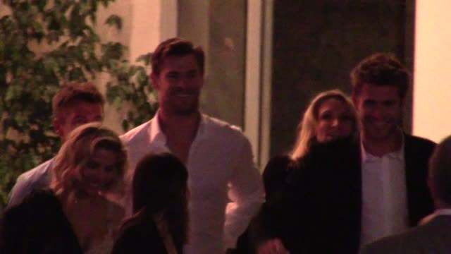 Chris Hemsworth Liam Hemsworth Elsa Pataky at the Vacation Premiere after party in Westwood in Celebrity Sightings in Los Angeles