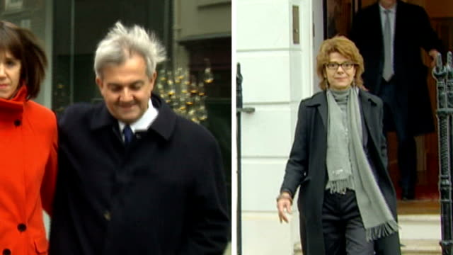 chris huhne and vicky pryce both jailed for 8 months for perverting the course of justice england london chris huhne and girlfriend carina trimingham... - leaving prison stock videos & royalty-free footage
