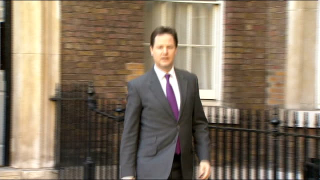 chris huhne resigns from cabinet: nick clegg statement / david cameron statement / ed davey statement and photocall with clegg; england: london:... - クリス ヒューン点の映像素材/bロール