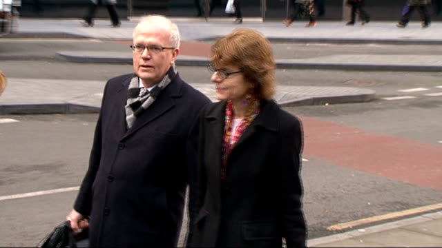 chris huhne speeding trial: vicky pryce continues to give evidence; england: london: southwark crown court: ext **beware flash photography** vicky... - クリス ヒューン点の映像素材/bロール