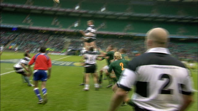 chris jack bats away a lineout throw by the barbarians immediately followed by a penalty call against south africa barbarians v springboks 4th... - lineout stock videos and b-roll footage