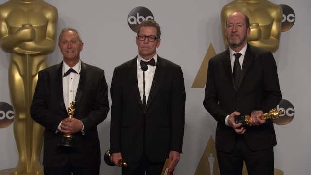 chris jenkins, gregg rudloff, and ben osmo at the 88th annual academy awards - press room at hollywood & highland center on february 28, 2016 in... - hollywood and highland center stock videos & royalty-free footage