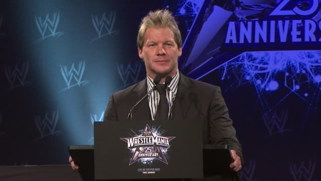 Chris Jericho on Mickey Rourke's challenge leading to the WrestleMania matches on Ric 'Nature Boy' Flair at the WrestleMania 25th Anniversary Press...