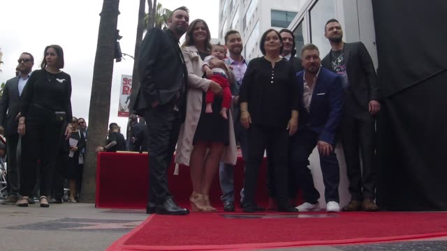 chris kirkpatrick, lance bass, jc chasez, joey fatone and justin timberlake at the *nsync honored with a star on the hollywood walk of fame on april... - joey fatone stock videos & royalty-free footage