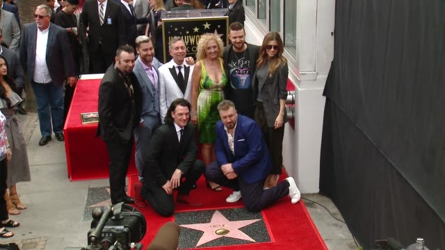 chris kirkpatrick, lance bass, lynn bomar harless, jc chasez, joey fatone, justin timberlake and jessica biel at the *nsync honored with a star on... - joey fatone stock videos & royalty-free footage