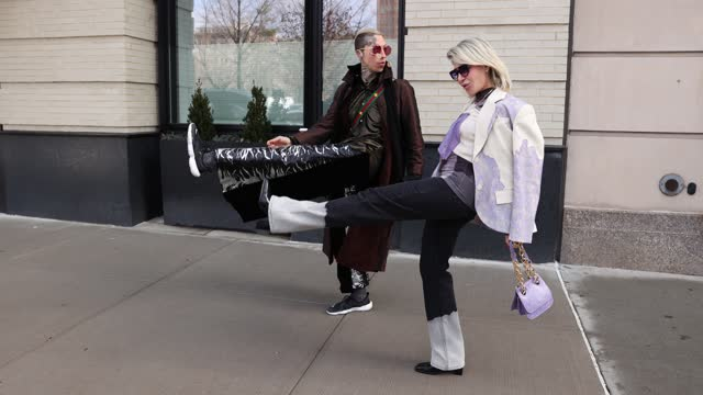 chris lavish and olga ferrara attend new york fashion week at spring studios on february 16, 2021 in new york city. - ニューヨークファッションウィーク点の映像素材/bロール