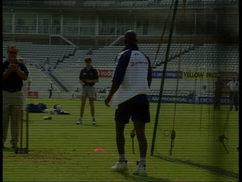 chris lewis makes corruption allegations lib london the oval england cricketers training in nets lib lords la ms weather vane on top of stands pull... - lords cricket ground stock videos and b-roll footage