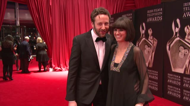 chris o'dowd and dawn porter at the iftas at convention centre dublin, ireland on february 11th 2012 - irish film and television awards stock videos & royalty-free footage