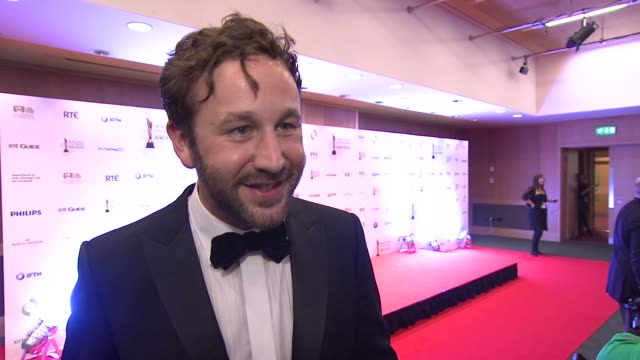 chris o'dowd on winning, on the competition and where he'll put itat the iftas at convention centre dublin, ireland on february 11th 2012 - irish film and television awards stock videos & royalty-free footage