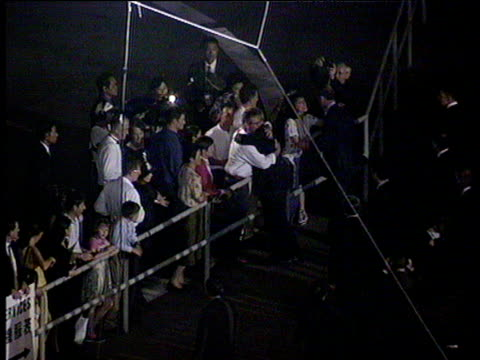 chris patten bids farewell to friends at quayside prior to departure hong kong handover 30 jun 97 - 1997 stock-videos und b-roll-filmmaterial