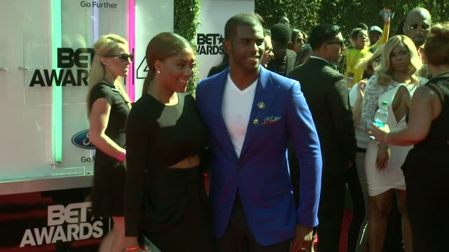 chris paul and jada crawley at the 2014 bet awards on june 29 2014 in los angeles california - bet awards stock videos and b-roll footage