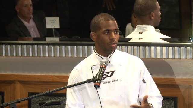 SPEECH Chris Paul at The CP3 Foundation's Celebrity Server Dinner Hosted By Chris Paul in Los Angeles CA