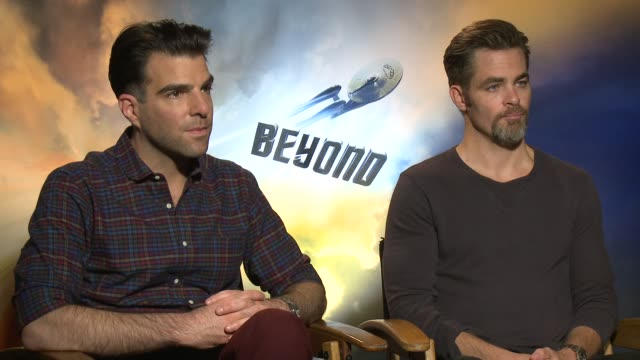 chris pine and zachary quinto are talking about working together for the third time on this star trek franchise - zachary quinto stock videos and b-roll footage